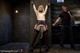 Ella Nova in lingerie and stockings bound for bdsm anal fuck training with Owen