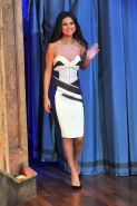 Selena Gomez shows huge cleavage wearing a strapless dress at 'The Late Night wi