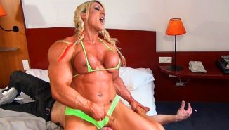 Massive Muscular Blonde Amazon Lisa Cross destroys a guy