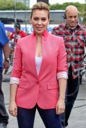 Alyssa Milano showing huge cleavage on the set of 'Extra' at The Grove in LA