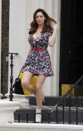 Kelly Brook leggy  cleavy wearing a mini dress out in London