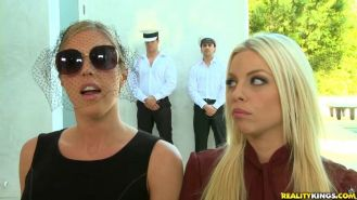 Britney Amber and Samantha Saint in a cfnm orgy