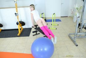 Exercising babe gets fucked in the gym from Teen Mega World