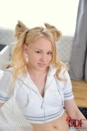 Baby L blonde teen amateur with pigtails strips
