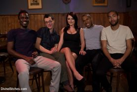 Mistress Sophie Dee and her cuckold close down the local bar where three hot wel