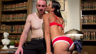 At Cuckolding Academy Lyla Storm cuckolds her tiny dicked professor with a huge