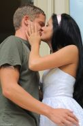 Blue eyed brunette lets her boyfriend cum in her mouth