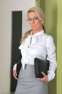 Luci Angel business woman in stockings strips at office