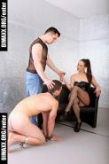 Crazy mistress has fun with her bisexual male slave and forces h