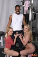 Estelle and Erin getting banged by a Brotha in the Gym
