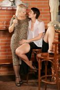 Mature lesbians licking pussy and masturbating at the bar