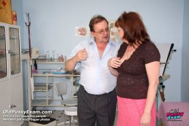 Mature fat Katerina having her fat pussy examined at gyno clinic