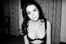 Lindsay Lohan showing boobs in see through bra for Terry Richardson photoshoot