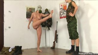 Extreme military strapon sex in a gas mask
