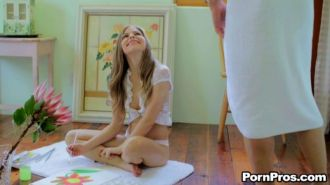 Cute babe Avril Sun has fun at home with a cock