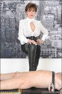 Lady sonia thigh boots and spurs domination of restrained slave
