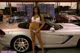 SweetAdri and Melissa Midwest getting naked in a cool car