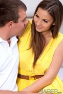 Connie Carter makes love to her boyfriend in a yellow dress