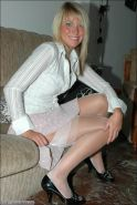 Blonde amateur cuttie Kate in fine white stockings