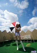 Japanese teen has a mini skirt with thong underneath