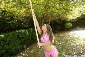 Lynn Love tied up by a guy and feeded with meat