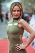 Amanda Holden busty showing hard pokies in tight olivegreen dress at Britains Go