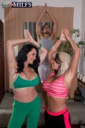 Two busty granies sharing cock in yoga threesome sex