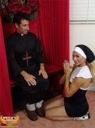 Tranny nun Foxy Angel confesses to a horny priest