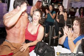 Male strippers sucked off by the all female crowd