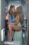 Jenna Jameson has her snatch licked in an airplane toilet