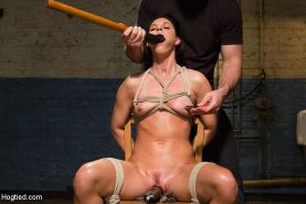 India Summer sexy small tits milf bound in rope her pussy vibrated