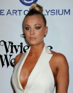 Kaley Cuoco braless showing huge cleavage in white outfit