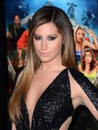 Ashley Tisdale showing huge cleavage in black partially see-thru dress at Scary