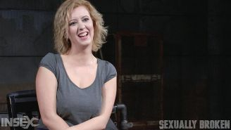 Cherry Torn blonde is bound to sybian and interracial double fuc