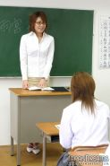 Sleazy hot Japanese teacher Yuu screws her students