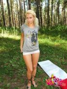 Teen blonde teasing and masturbating outdoors