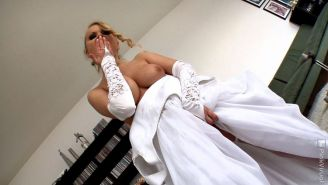 Busty blonde bride in white stockings gangbang fetish sex