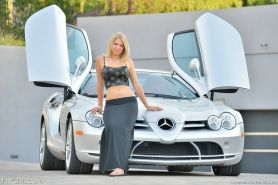 Sweet blonde teen amateur pussy and the sports car