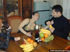 Drunk teen brunette Kristina and redhead Dina do blowjob and get