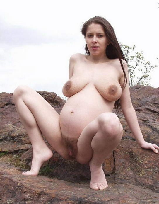 Pregnant girls showing their naked tits and swollen pussies #71427752