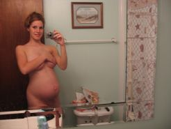 Pregnant girls showing their naked tits and swollen pussies #71427854