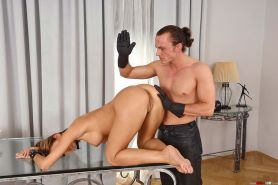 Young Satin Bloom is leashed and dominated ready for blowjob