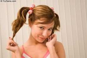 Sizzling petite teen with pigtails get her pink holes pummeled