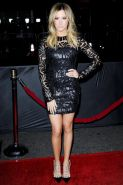 Ashley Tisdale looking hot in black partially transparent mini dress at That Awk