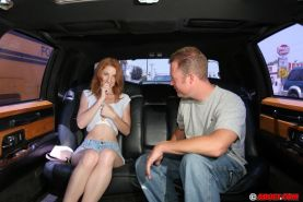 Redhead gets fucked in a limousine