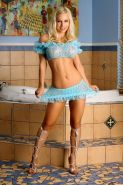 Busty Blonde Fitness Model Jenny Poussin Spreads in Blue Frilled Lingerie and Si