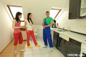 Lucky plumber gets dominated by two kinky teens