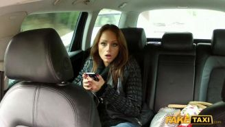Brunette babe Sophie pounded in the fake taxi