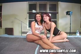 Lesbian cunt-licking and hardcore strap-on fucking sex