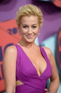 Kellie Pickler showing her huge boobs braless in a low cut pink dress at 2014 CM